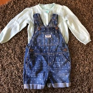 Jean shirt overalls and sparkly sweater